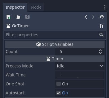 Showing the count variable in the inspector