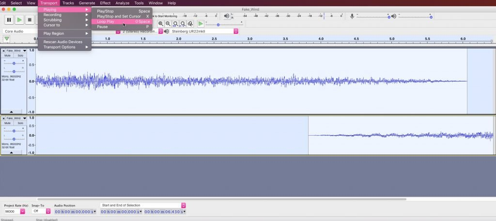 Play a loop section in Audacity