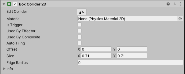 2D Box Collider component in Unity Inspector