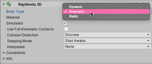 Screenshot of the 2D Rigidbody Body Type option in Unity (set to kinematic)