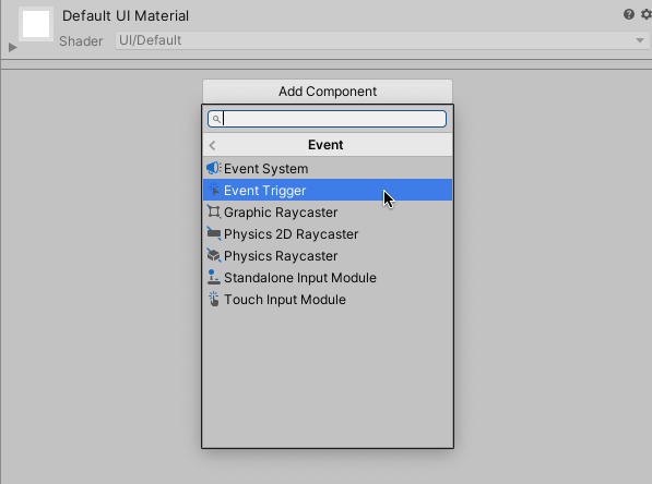 Screenshot of The Event Trigger Component in Unity