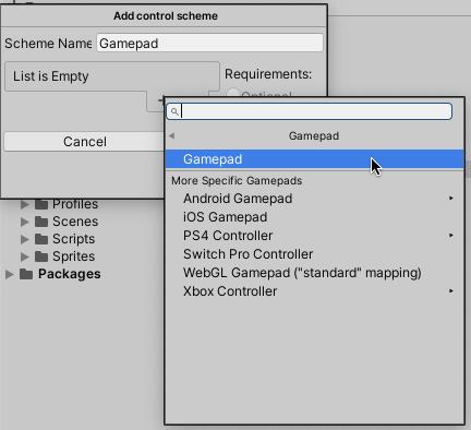 Add Gamepad control scheme in Unity