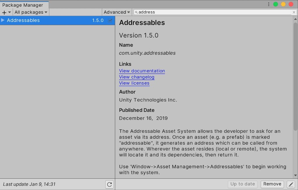 Install Addressable Assets from the Unity Package Manager