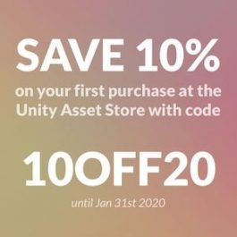 Save 10% on your first purchase at the Unity Asset Store