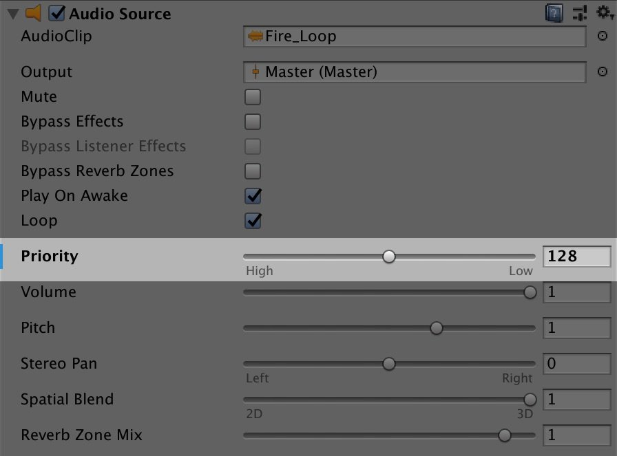 Audio Source Priority in Unity