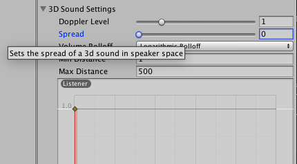 Unity Tooltip - Audio Source Spread Setting Explained