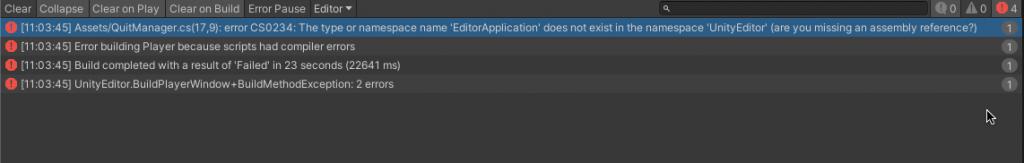 Screenshot of the EditorApplication namespace error