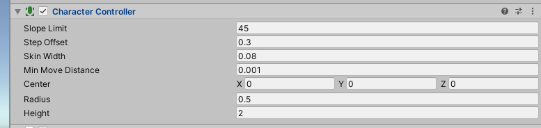 Character Controller Component in Unity