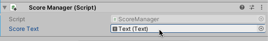 Connect Score Text reference in Inspector in Unity
