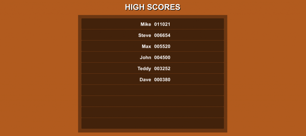 High Score Table in Unity