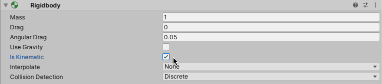 Screenshot of Setting a 3D Rigidbody to Kinematic in the Inspector in Unity