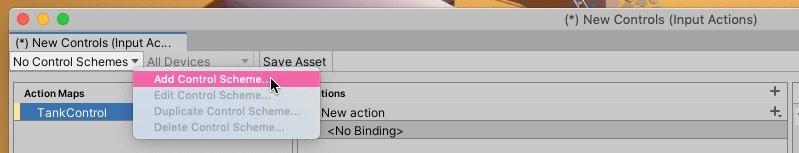 Create Control Scheme Button in Unity