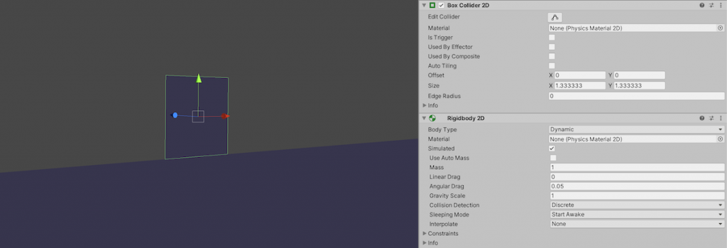 Rigidbody 2D component and Collider 2D component in Unity Inspector