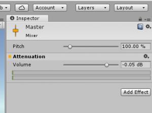 Unity Inspector Mixer Volume Control