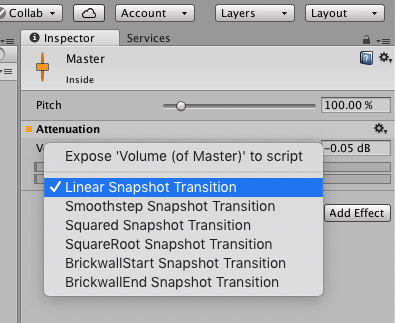 Unity Audio Mixer Transition Curves Dropdown
