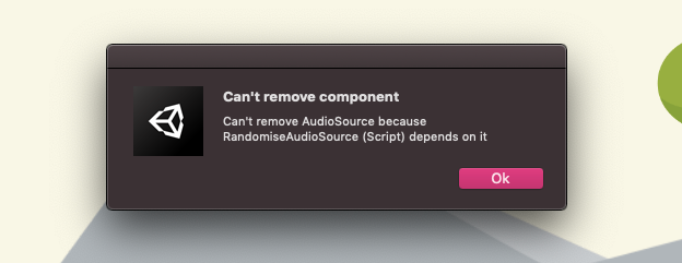 Unity Require Component Warning