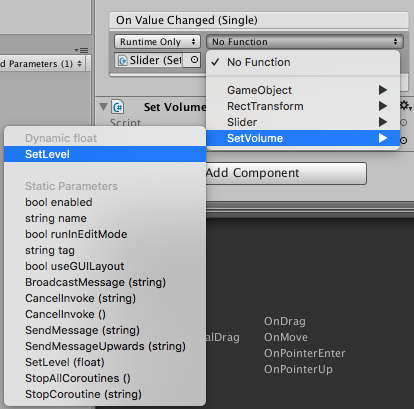 Connect slider to volume control function in Unity