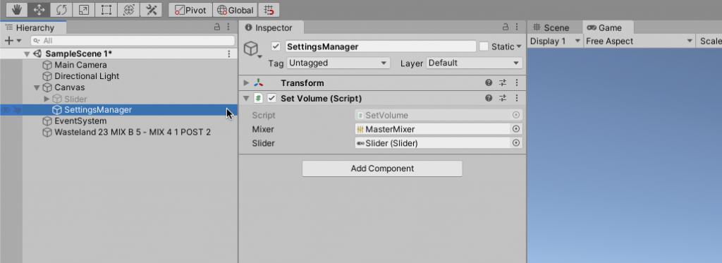 Slider Settings Example Unity