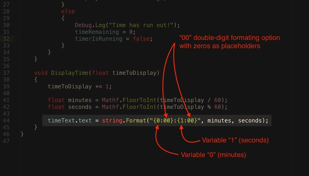 Image showing how to use string.Format in Unity to format a time display.