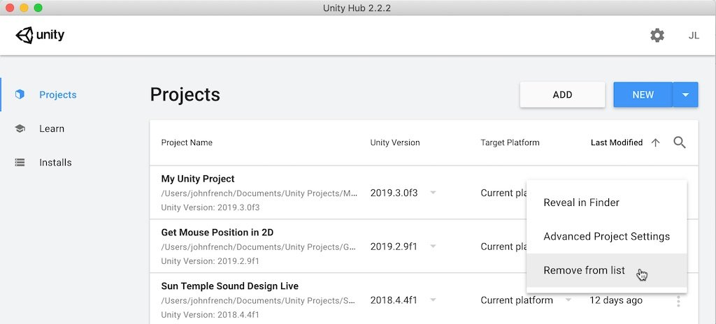 Unity Hub- Remove Project from List