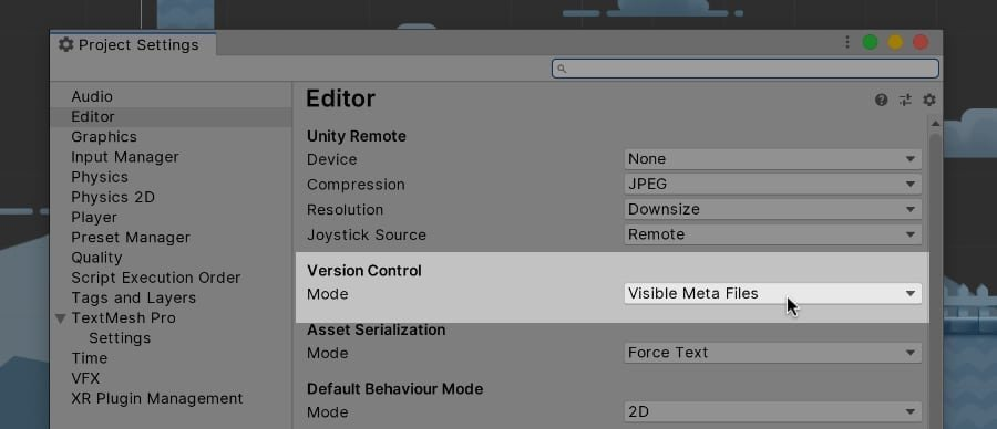 Visible Meta Files Option in Unity