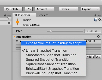 Where to find the option for exposing parameters in the Unity inspector
