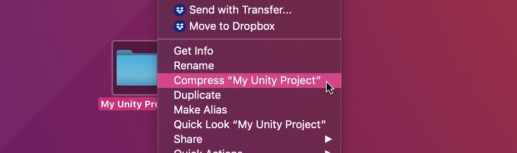 How to Compress and move a Unity Project