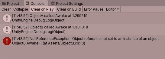 Null Reference Exception when using Awake in Unity