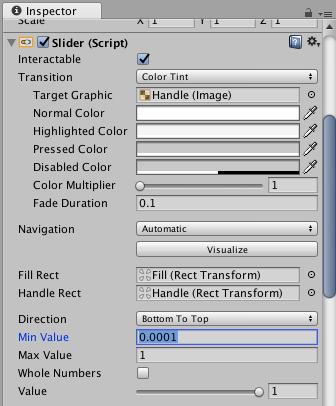 Unity Volume Slider Inspector Settings