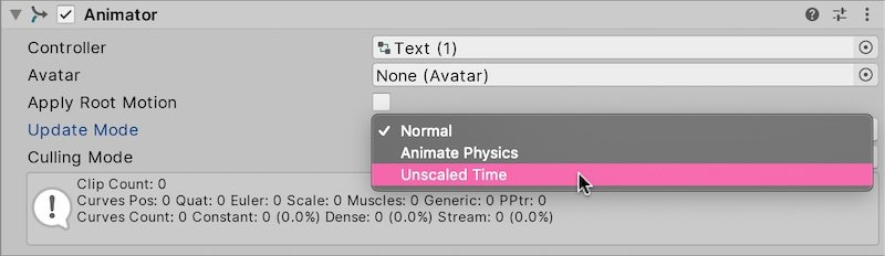 Unity Animations using Unscaled Time